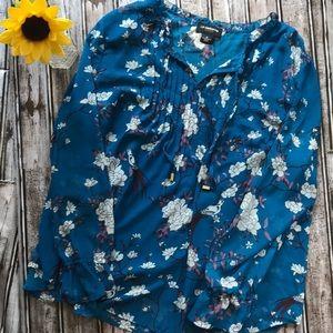 Liz Claiborne teal floral blouse